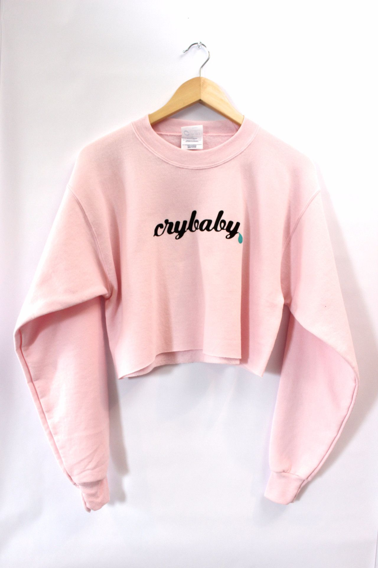 f2f1936b1fd3 Crybaby Pastel Pink Cropped Graphic Crewneck Sweatshirt