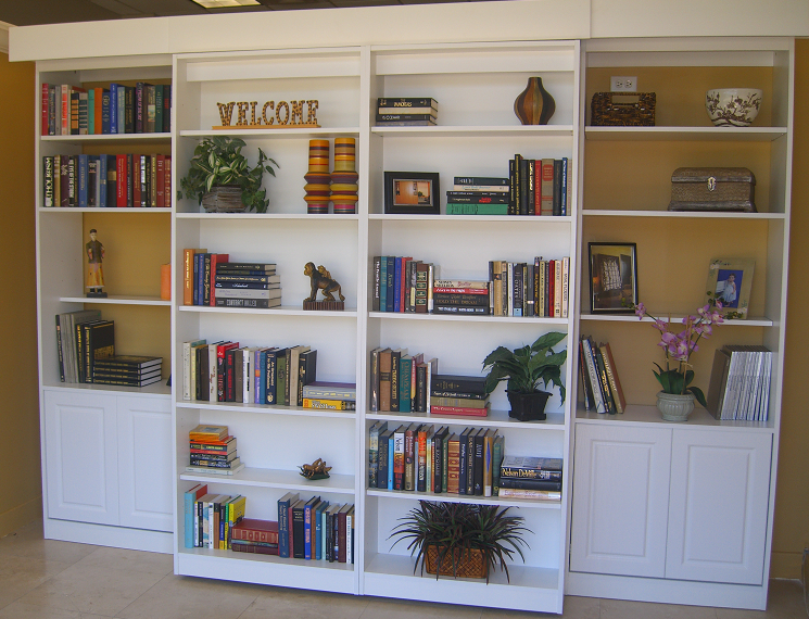 there is a double murphy bed behind the shelving. the shelving