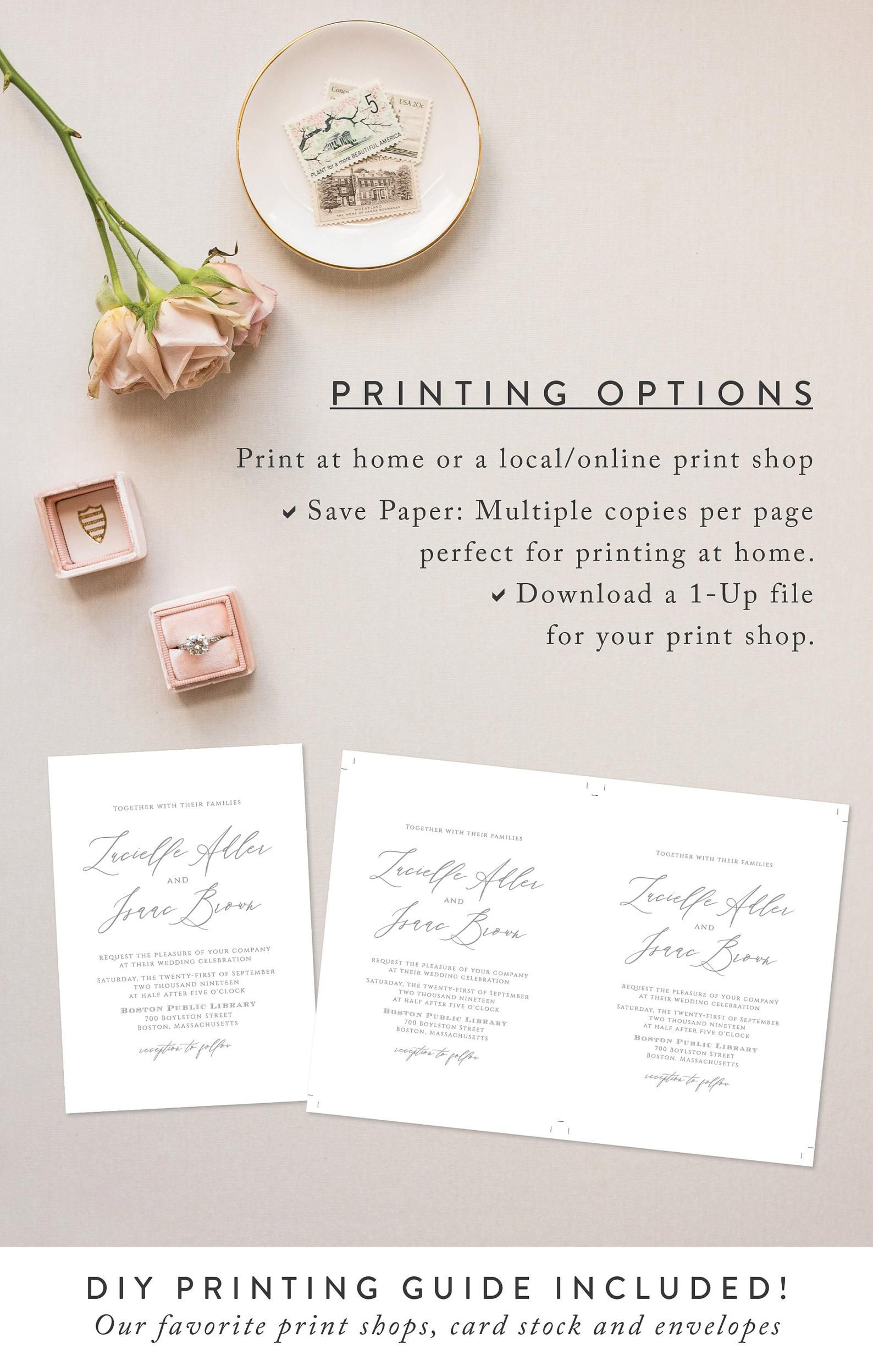 Calligraphy Wedding Invitation Template, Instant Download