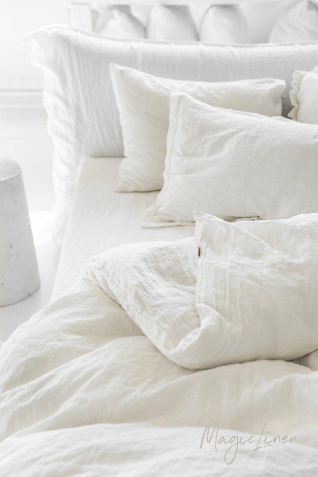 Linen duvet cover in White / Ivory color. King, queen, custom size bedding