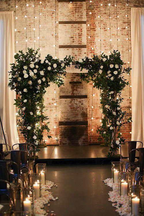 Backdrop with flowers and string lights wedding decoration ideas weddingdecorationideas also rh pinterest