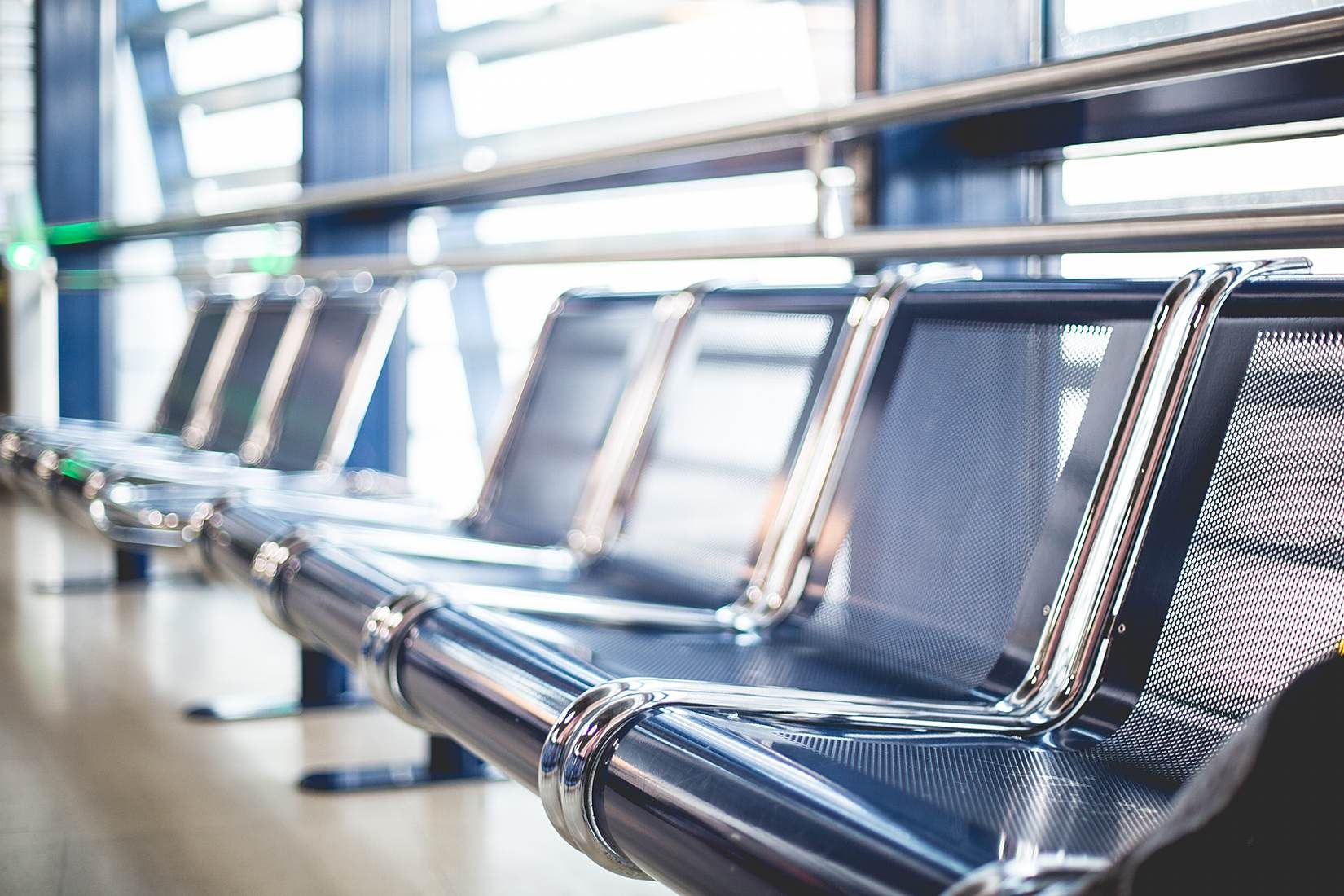 Empty Airport Seats in Terminal Waiting Area Free Stock Photo