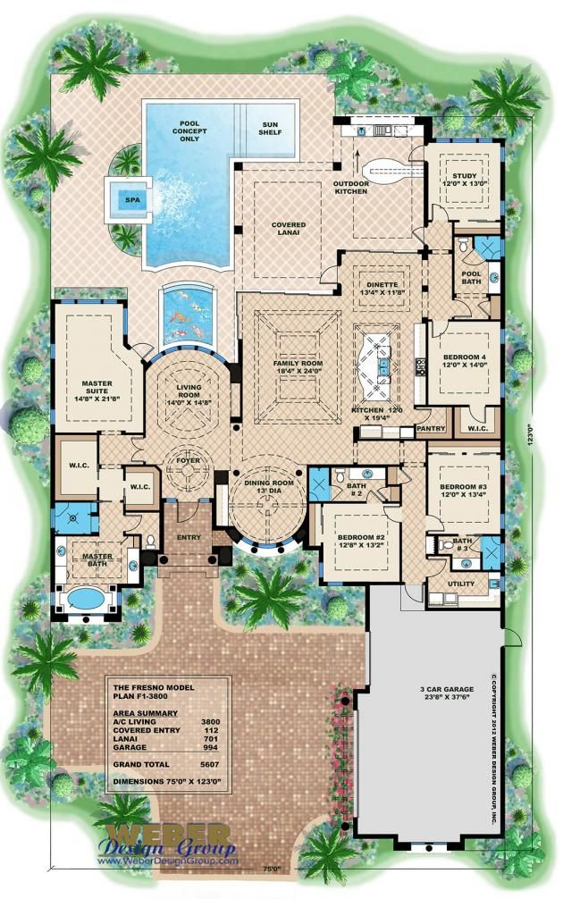 Mediterranean House Plan Luxury 1 Story Home Floor Plan With Pool Mediterranean Style House Plans Luxury House Plans Beach House Flooring