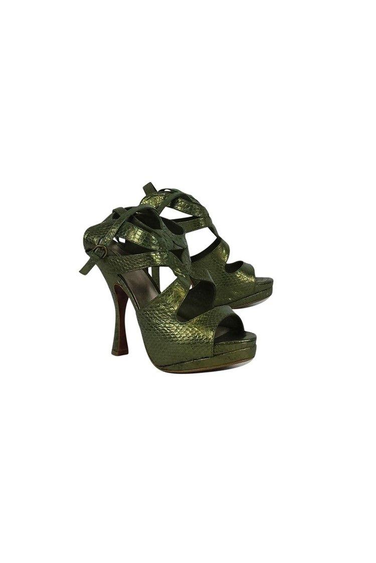 865a01c26dd Leon Max- Green Snakeskin Platform Shoes Sz 8.5