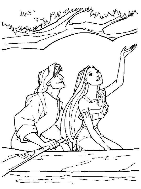 Pocahontas Date With John Smith Coloring Pages Disney Princess