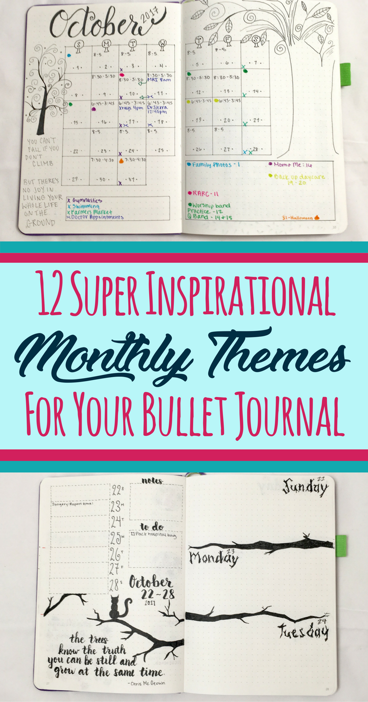12 Inspirational Bullet Journal Monthly Theme Ideas | | Bullet ...