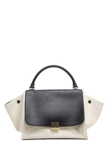 White Canvas   Black Calfskin Trapeze Bag  0a176405fdec1