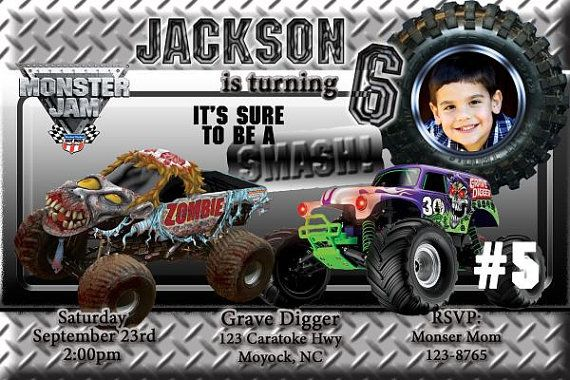 20 Monster Truck Jam Birthday Invitations includes by DazzelPrintz