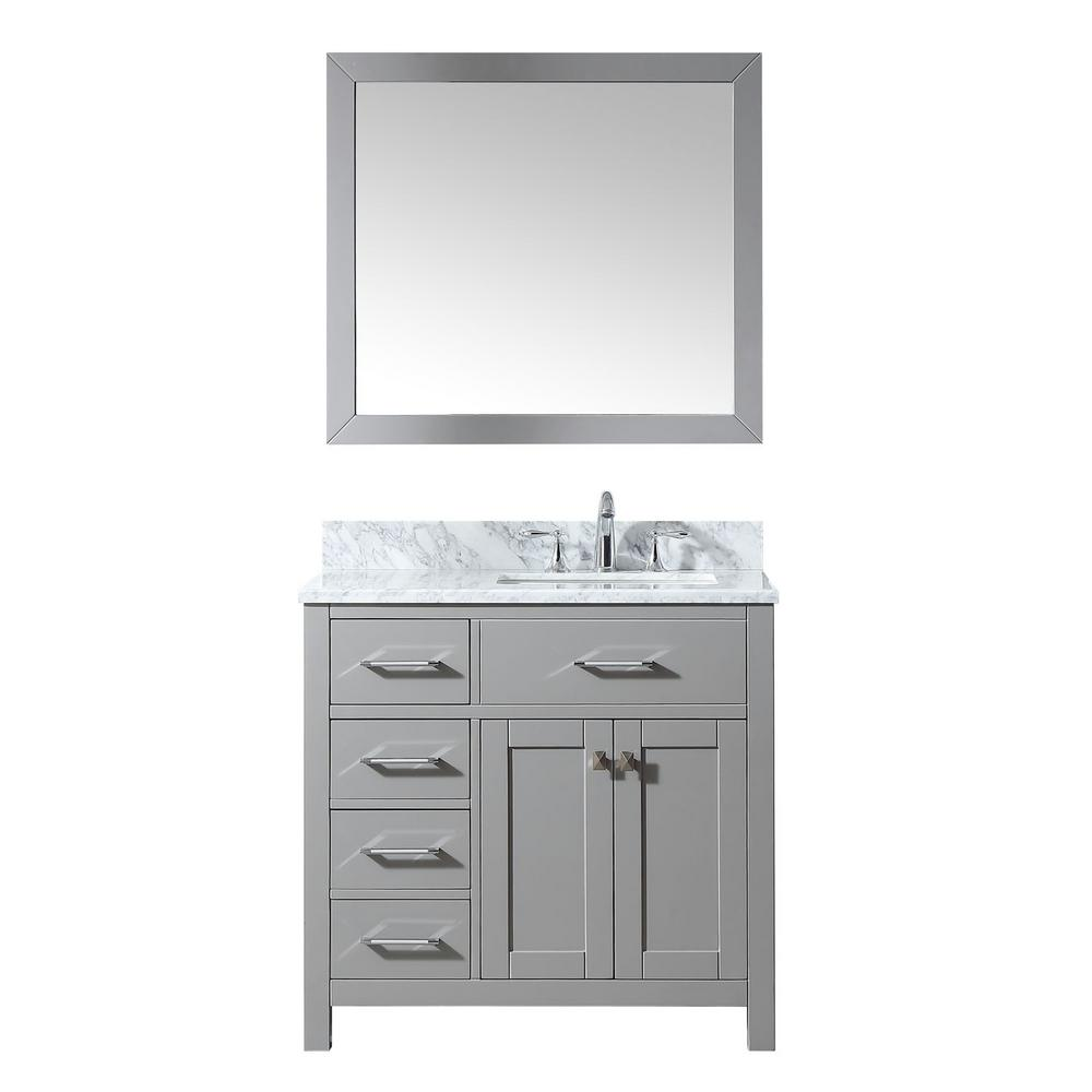 Simpli Home Winston 36 In Right Offset Bath Vanity In Warm Grey With Marble Extra Thick Vanity Top In Bombay White With White Basin Winstonwg 36 R The Home D Bath Vanities Simpli [ 1000 x 1000 Pixel ]
