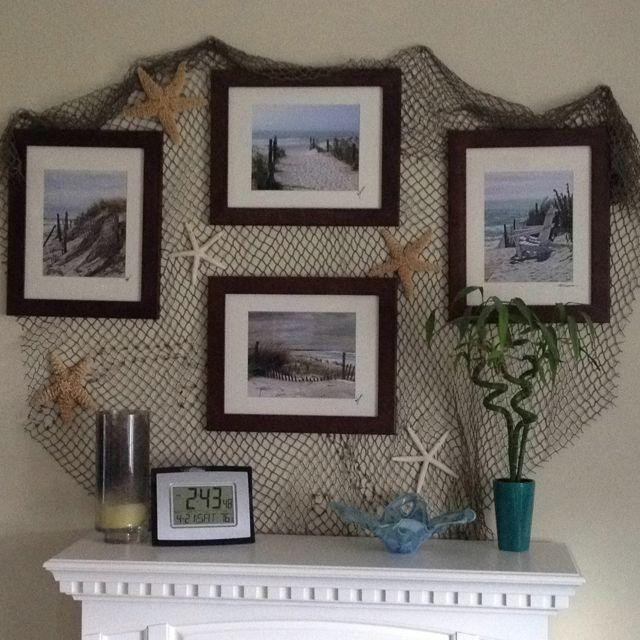 Best 25 beach mantle ideas on pinterest beachy house for Decorative fishing net