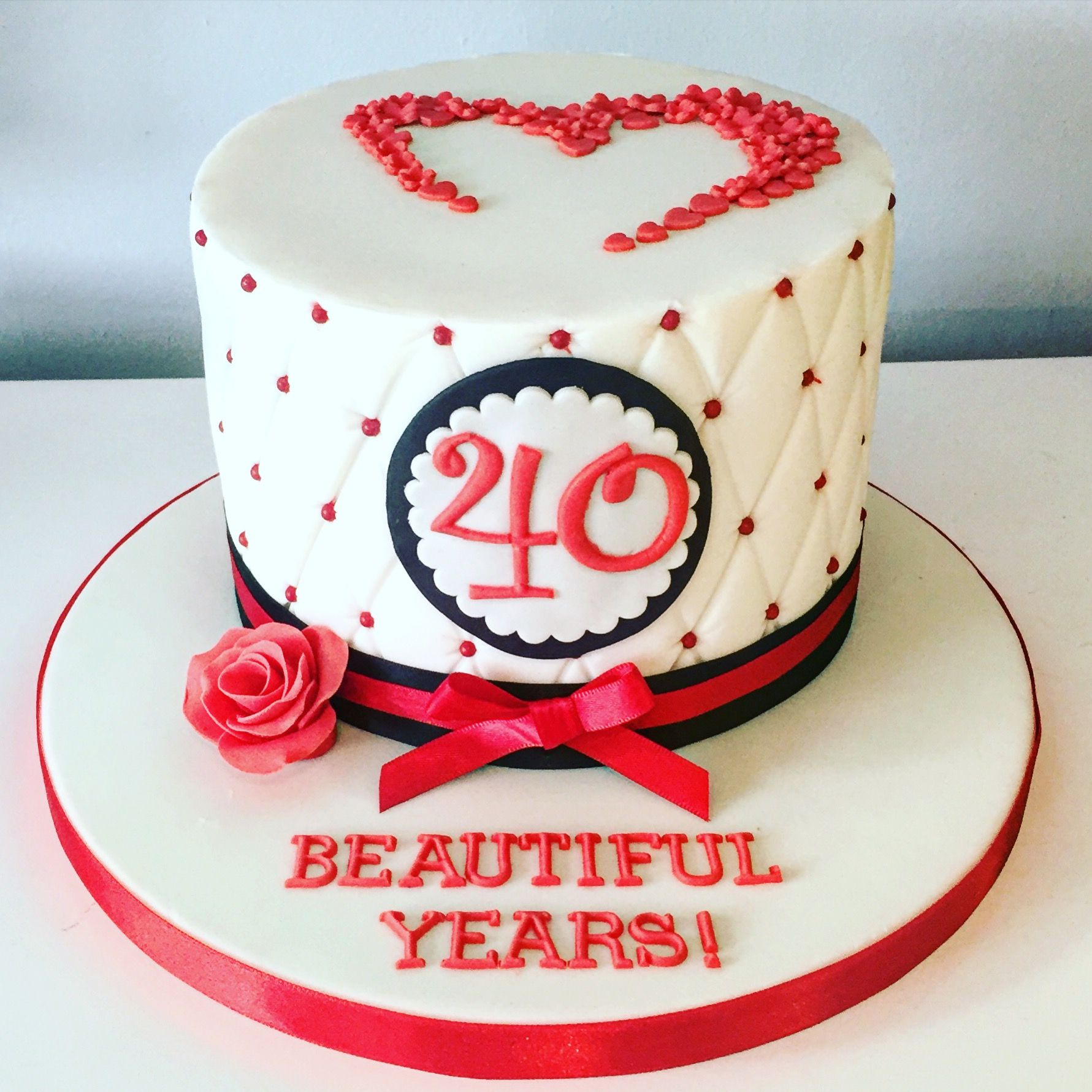 Ruby Wedding Anniversary Cake Red Velvet With Vanilla
