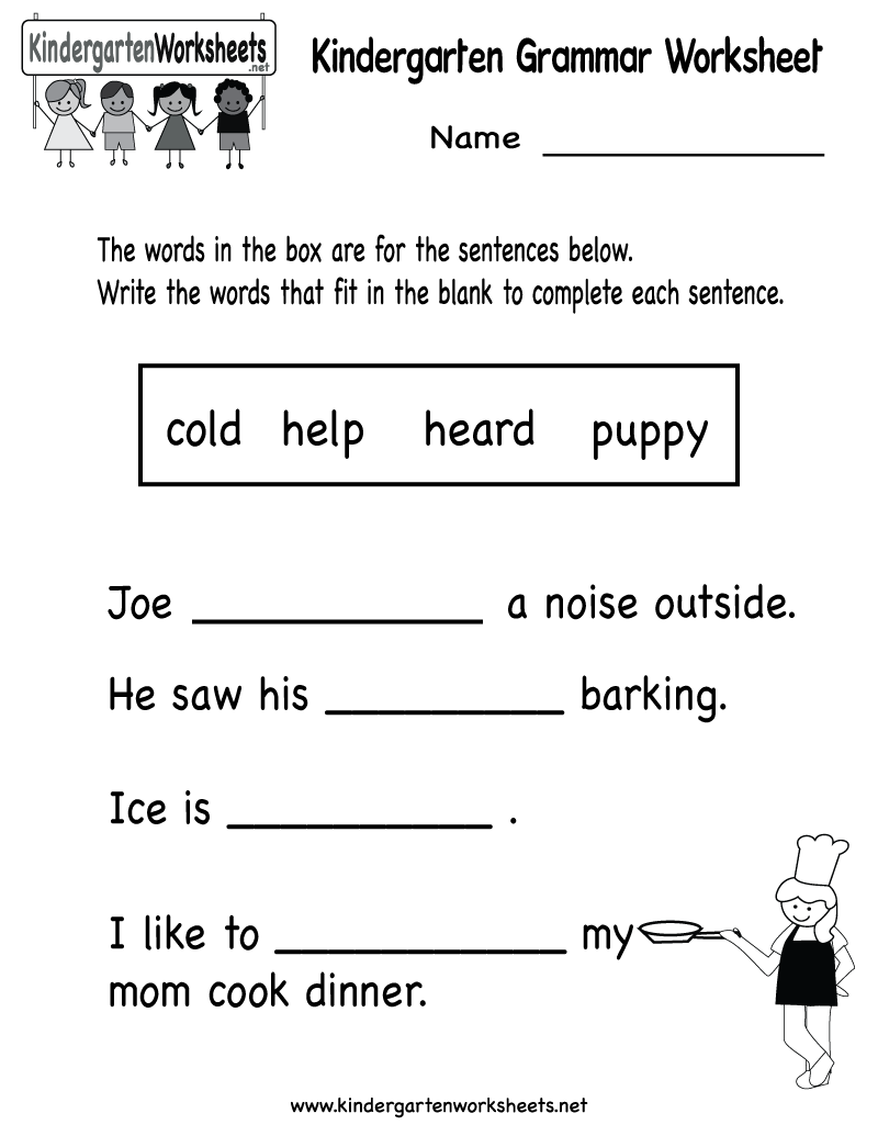 graphic relating to Printable Grammar Worksheets titled Kindergarten Grammar Worksheet Printable Worksheets