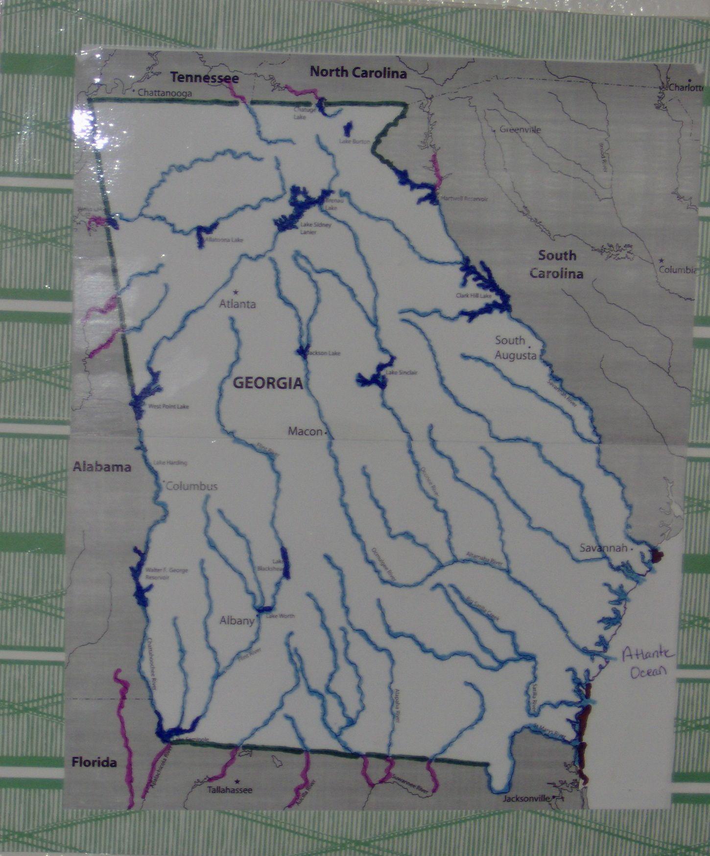 Georgia Map To Highlight Major Rivers Amp Lakes