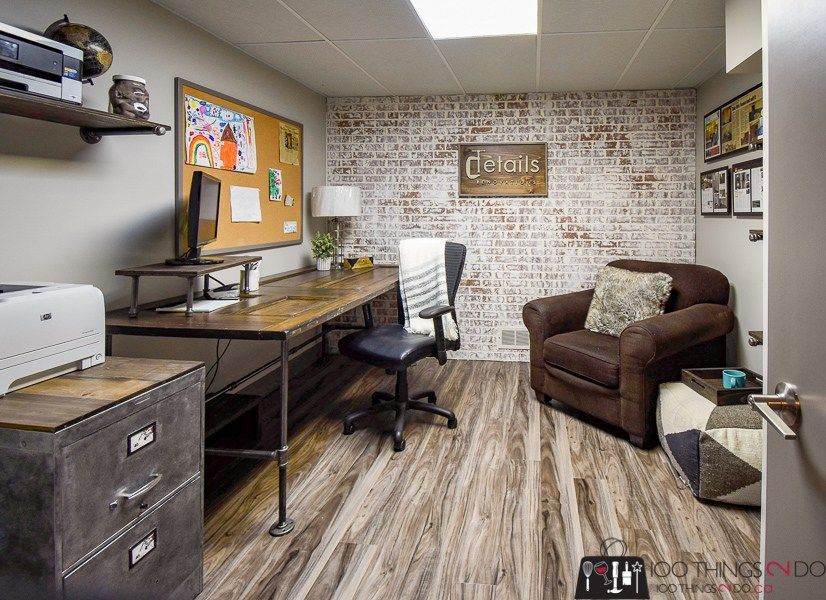 Awesome Small Basement Apartment Ideas On A Budget Basement Basementideas Unfinishedbasemen Rustic Home Offices Basement Home Office Industrial Office Decor