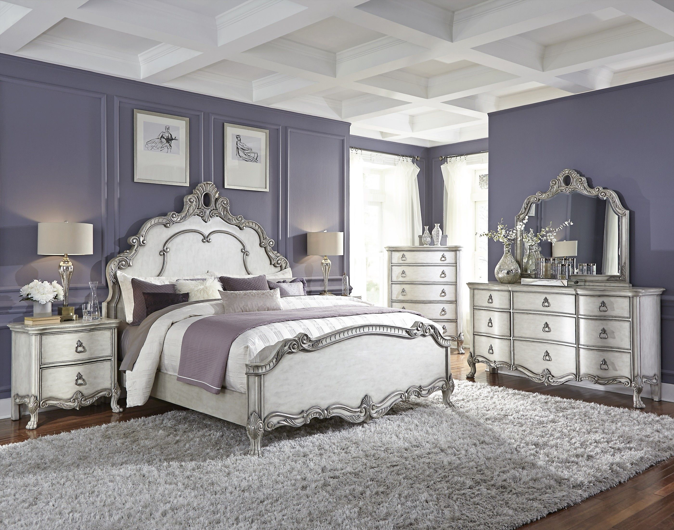 Traditional Antique White and Silver Bedroom