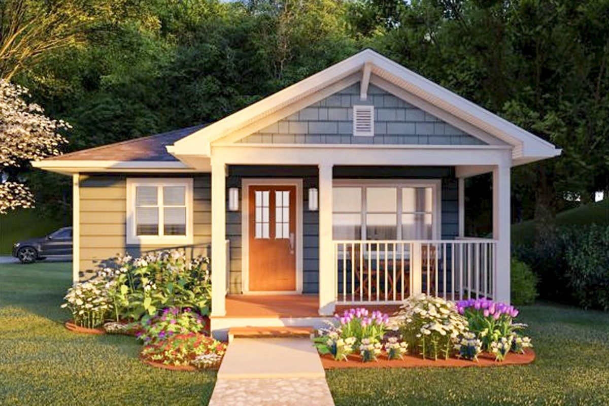 Cozy Tiny Home with Gabled Front Porch is part of House front porch, Bungalow exterior, Tiny house exterior, Building a tiny house, Small house design, House exterior -