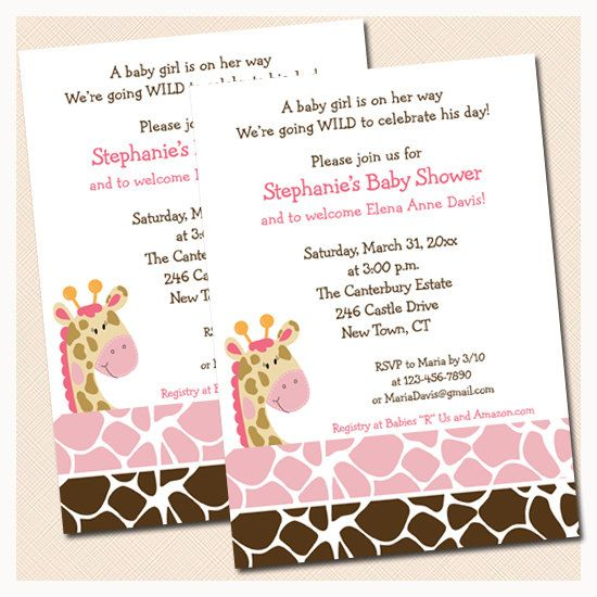 baby shower invitations giraffe animal print printable baby shower