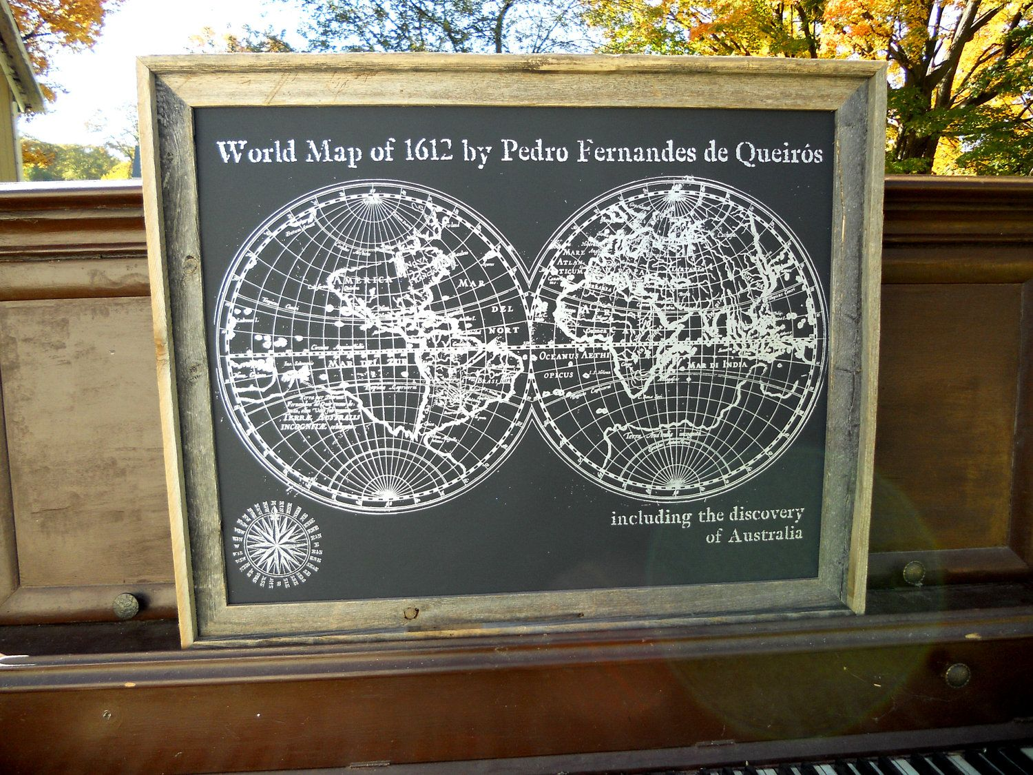Large old world map print 1612 the discovery of australia silver large old world map print 1612 the discovery of australia silver and black map poster hand pulled screen print gumiabroncs Images
