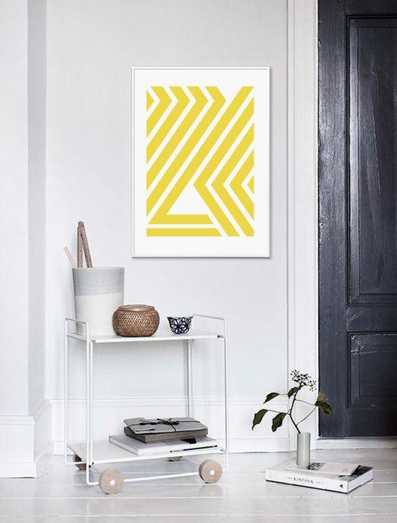 Yellow Geometric, Yellow Print, Mid Century, Mid Century Art, Yellow ...