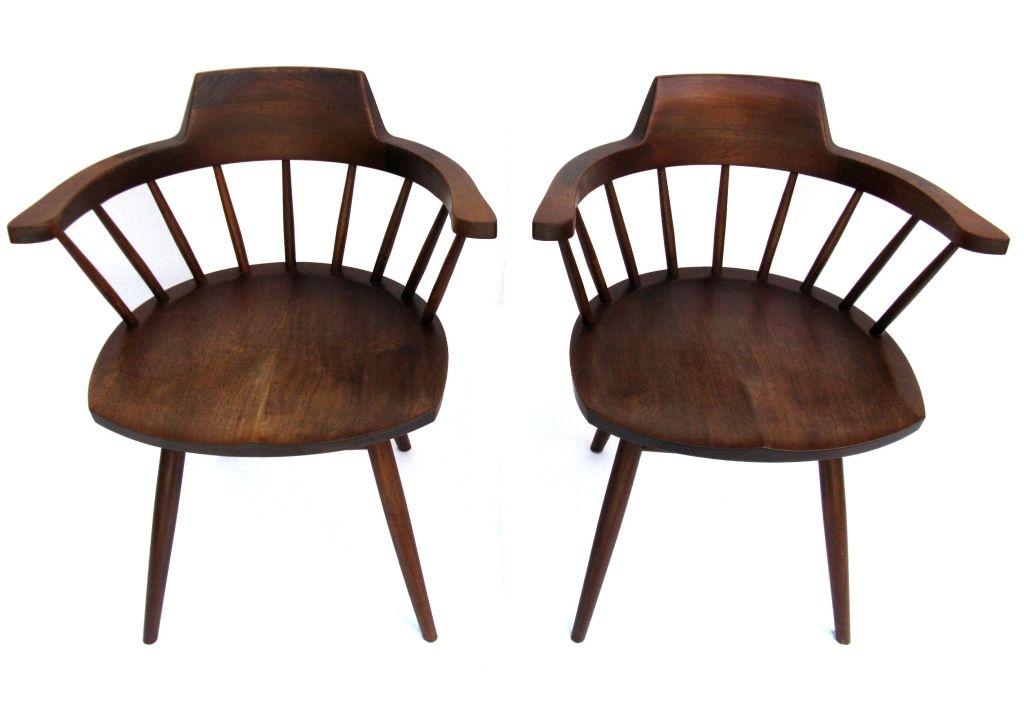 Signed G Nakashima Walnut Captain 39 S Chairs 1957 Walnut