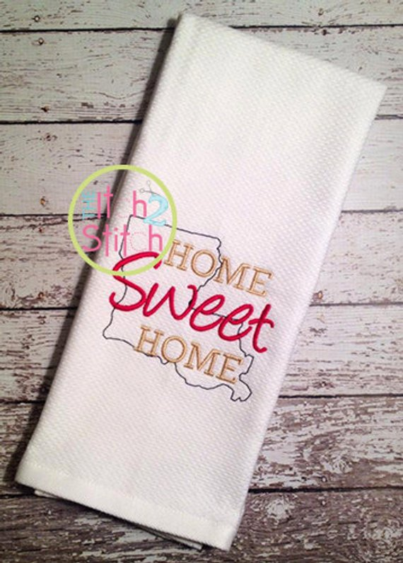 Home Sweet Home Louisiana Embroidery Design For Machine Embroidery