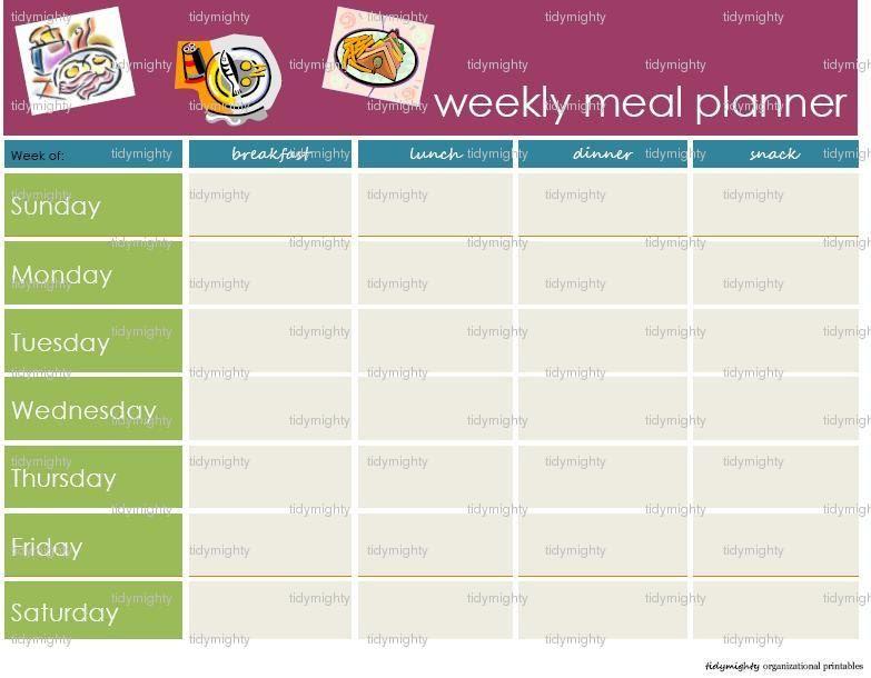 weekly menu planner template