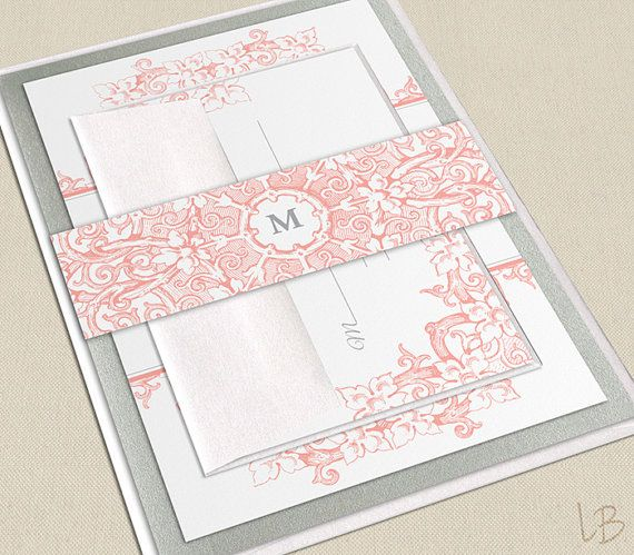 Intricate Floral Pink Coral Wedding Invitation SAMPLE - Pink and - formal invitation style