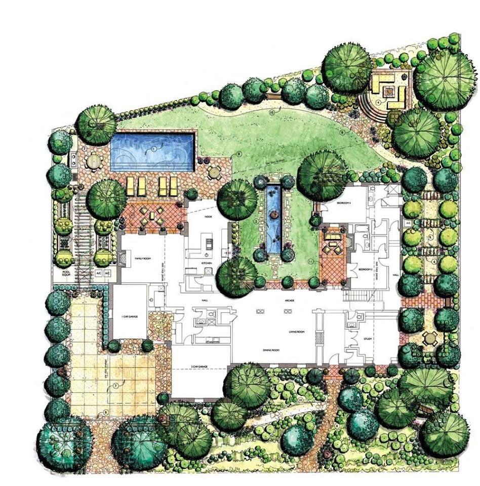 Koncepcje에 있는 Anna W 님의 핀 정원 디자인 도면 조경 도면 조경설계