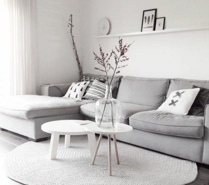 Un Salon En Gris Et Blanc Cest Chic Voilà Photos Qui En - Deco salon mur blanc