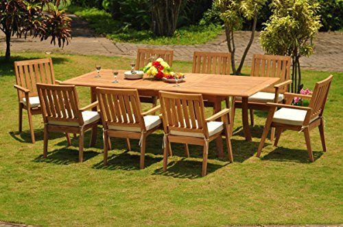 TeakStation 8 Seater GradeA Teak Wood 9 Pc Dining Set 94 Double