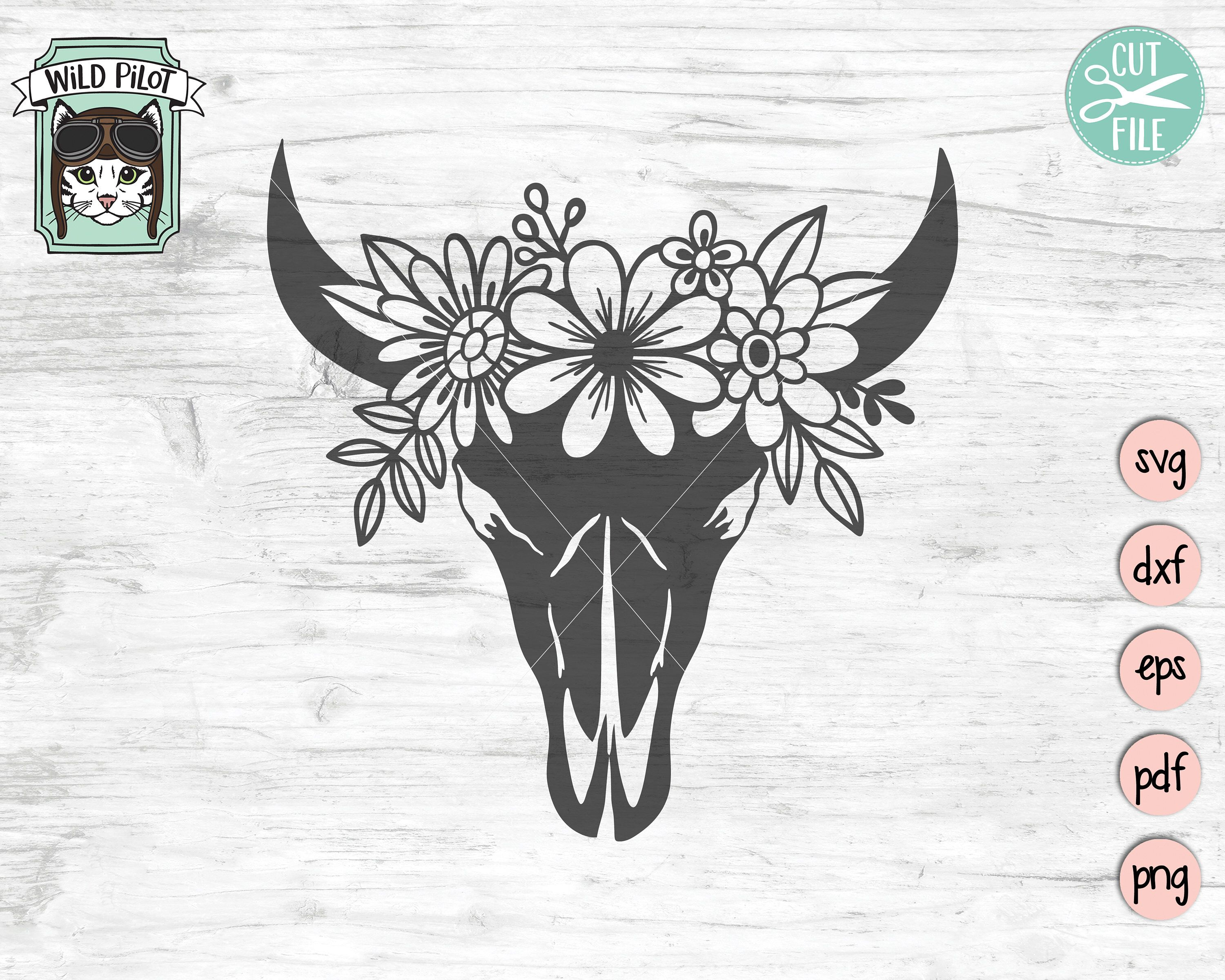Cow Skull With Flowers Svg File Cow Skull Svg File Cow Skull Etsy In 2020 Cow Skull Flower Skull Longhorn Skull