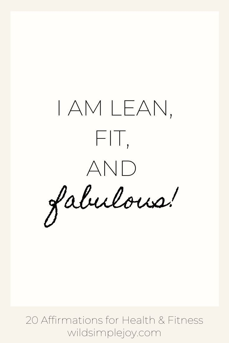 20 Affirmations for Health & Fitness. Healthy Living, working out, exercising affirmations, mantras....