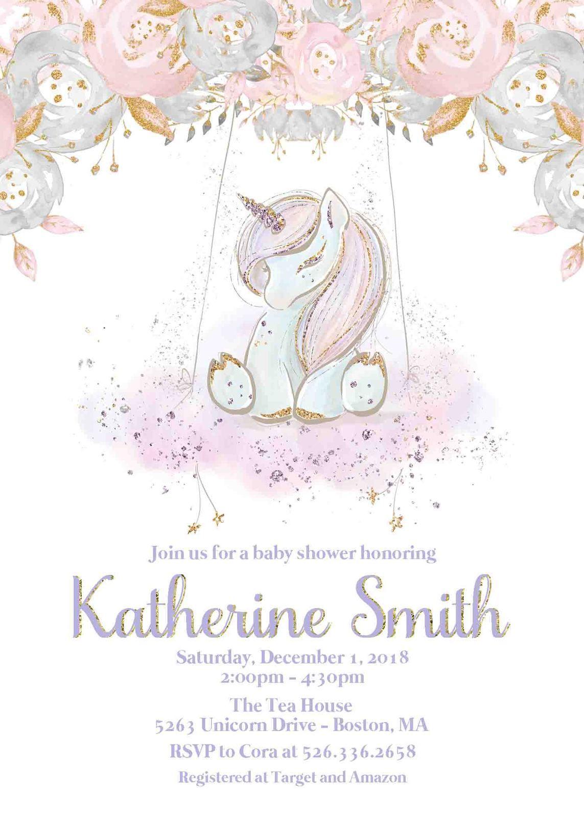 Unicorn Baby Shower Invitation Baby Girl Invite Unicorn