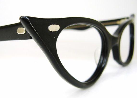 Reserved Vintage Black Cat Eye Glasses by Vintage50sEyewear