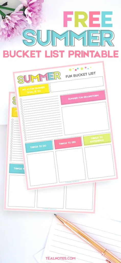 Summer Bucket List Printable Template To Organize Your Summer Fun!