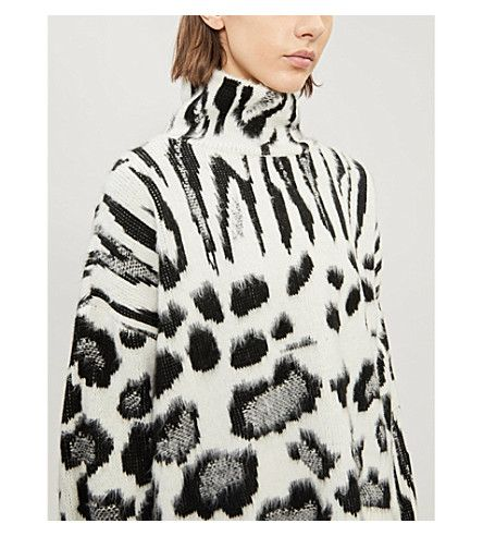 a7bfaa7c3c TOPSHOP - Zebra-print brushed-knit jumper