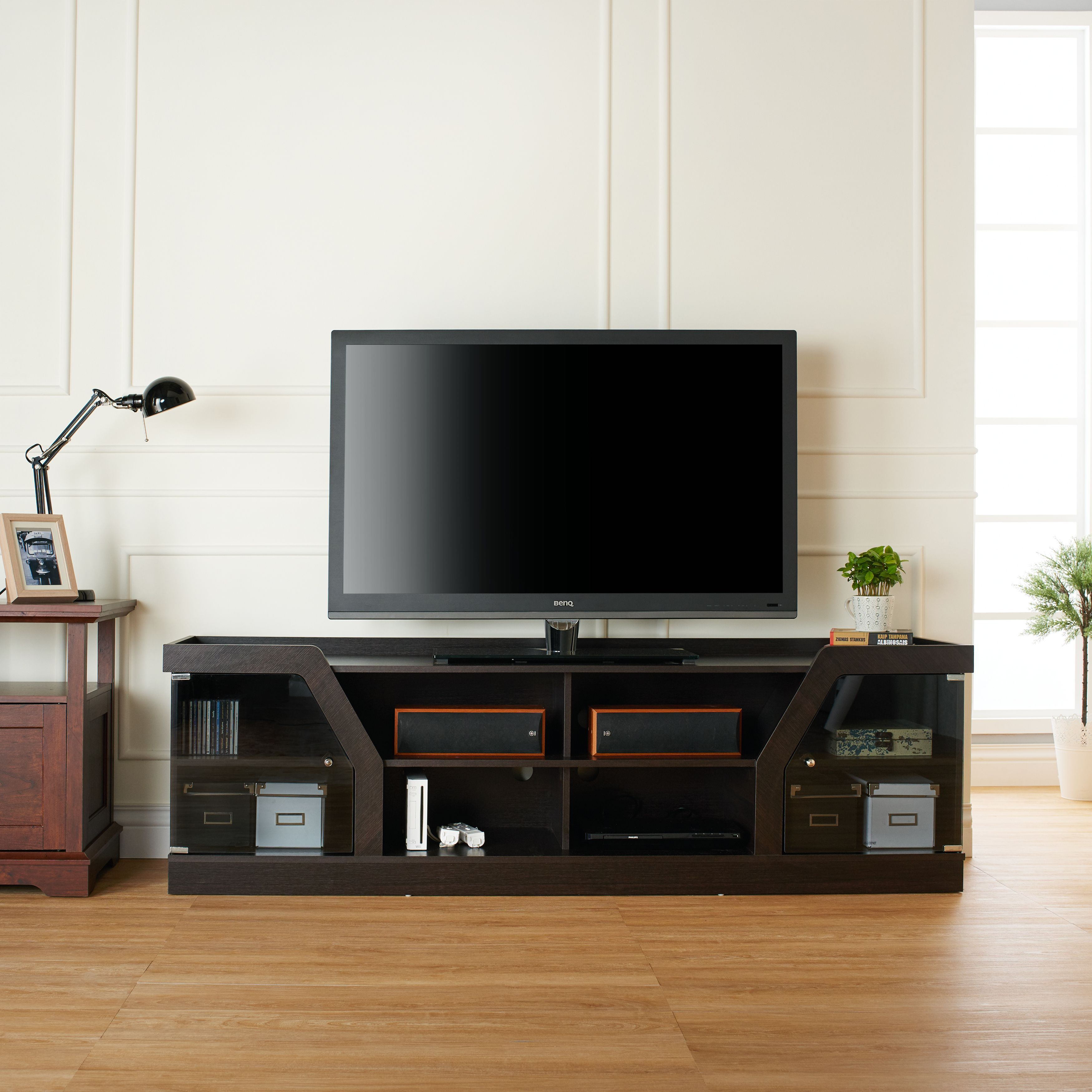 Eccentric Yet Convenient This Expansive Tv Stand Features Angular