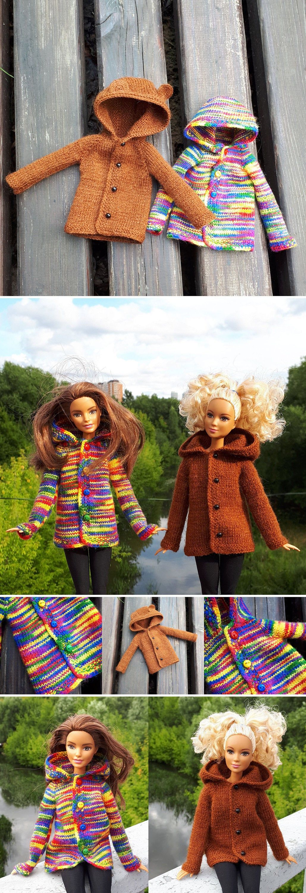 Knitted raibow cardigan for Barbie doll Barbie fashion clothes Knitted sweatshirt sweater Barbie clothes pullover Barbie cardigan sweater #crochetedbarbiedollclothes