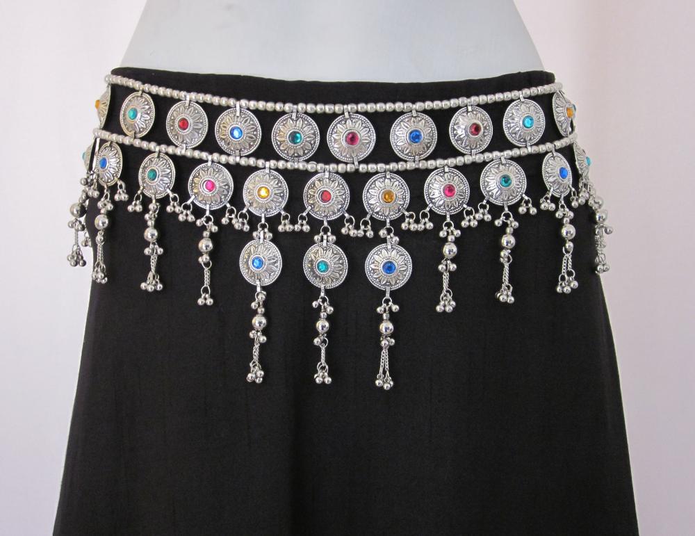 Belly Dance Skirt BELT Tribal ATS Vintage Silver Metal Tassels Boho Gypsy Hippie