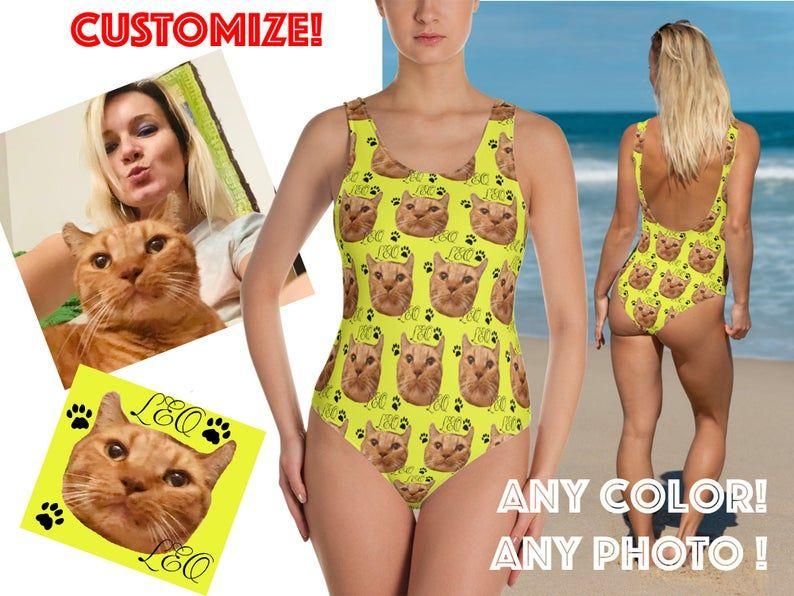 Custom Photo Swimsuit Women S Personalized Gift Unique Selfie Cat