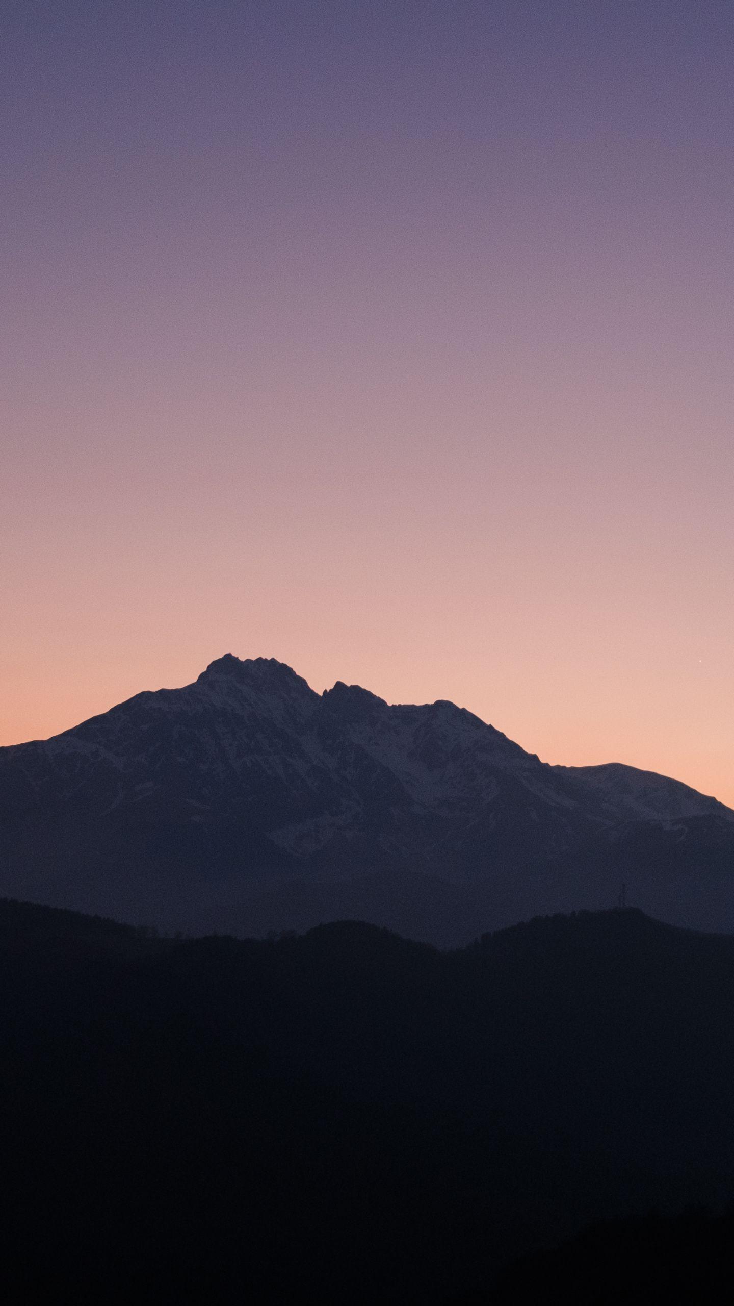 1440x2560 Sunset Mountains Dusk Horizon Silhouette Wallpaper