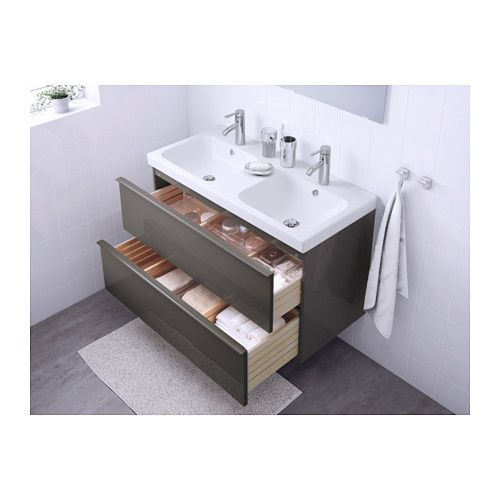 GODMORGON / ODENSVIK Sink Cabinet With 2 Drawers, High Gloss Gray