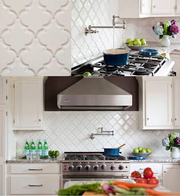 "Chic alternative to subway tiles:  ""Arabesque"" beveled glazed ceramic tile from Mission Stone & Tile"