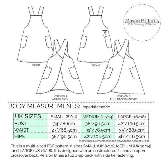 El patrón de costura Maria envolver delantal PDF por mavenpatterns ...