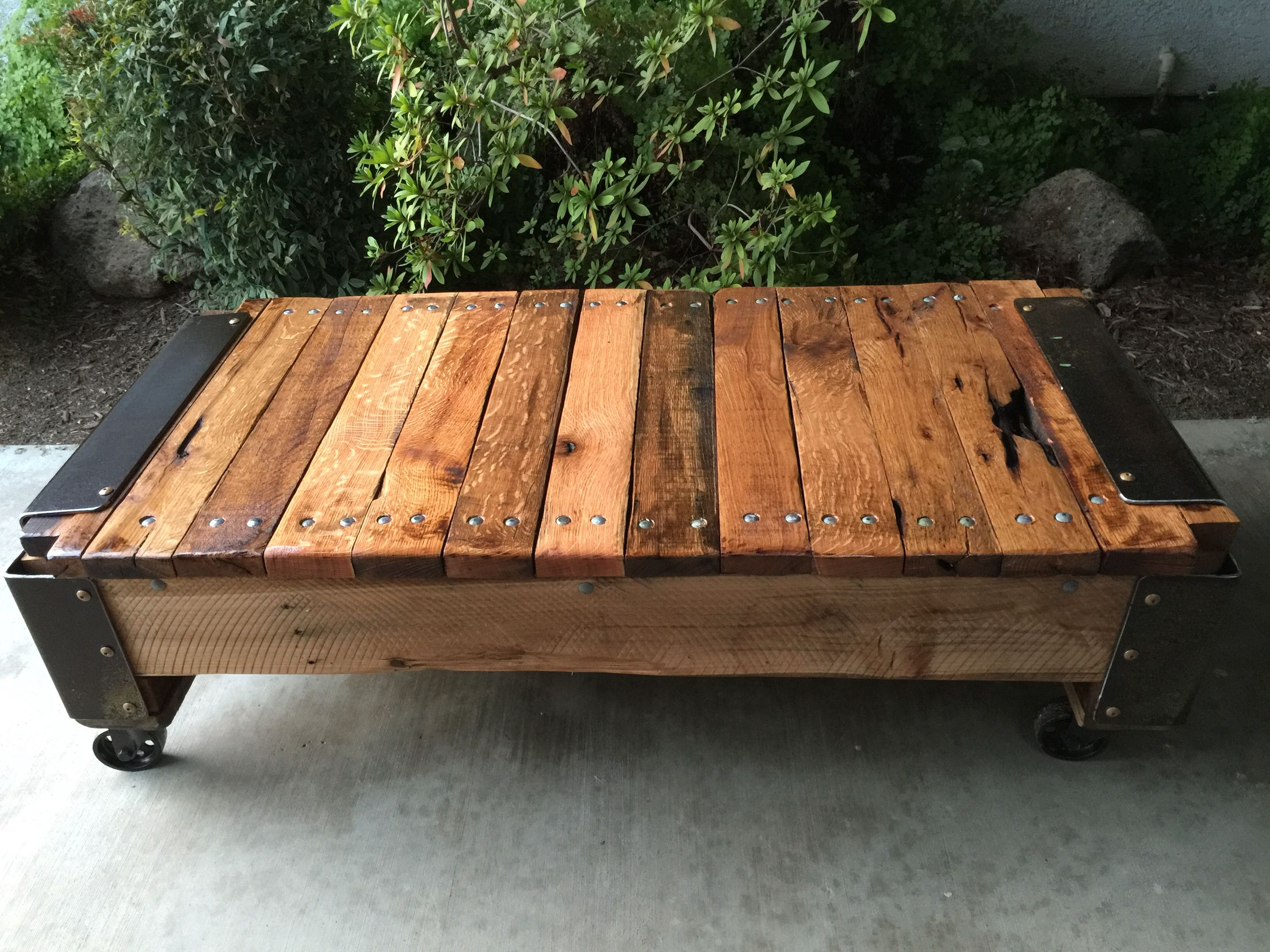 Pallet wood Lineberry factory cart coffee table made with reclaimed