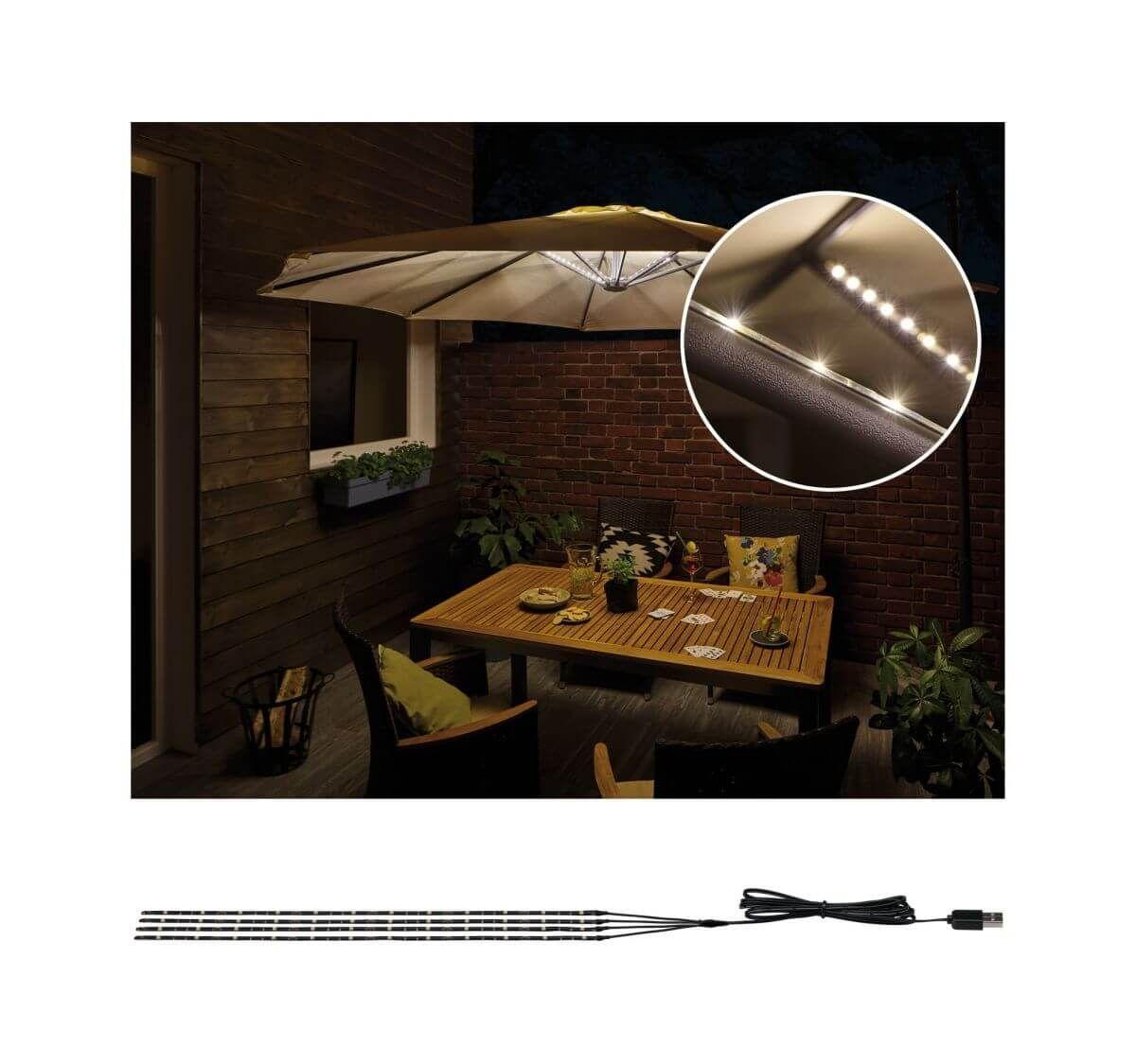 Paulmann Mobile Strip Parasol Schirm Beleuchtung Ip44 4er Set 4x40cm Sonnenschirm Led Stripes Led Stripes Runde Badezimmerspiegel Beleuchtung