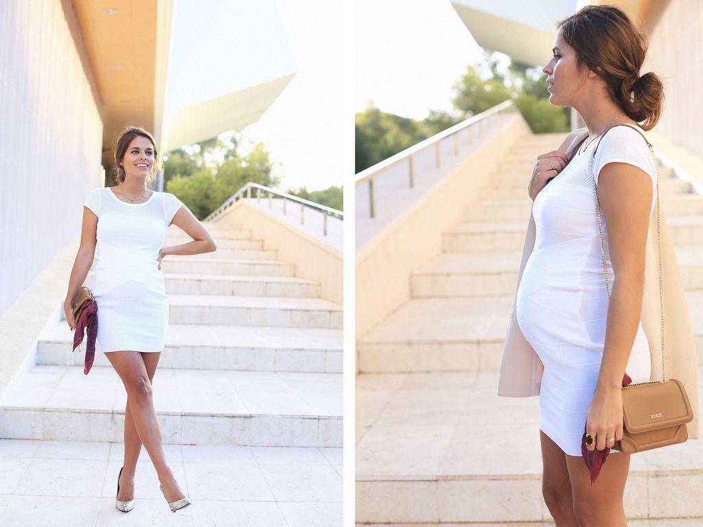 Vestido blanco corto embarazada