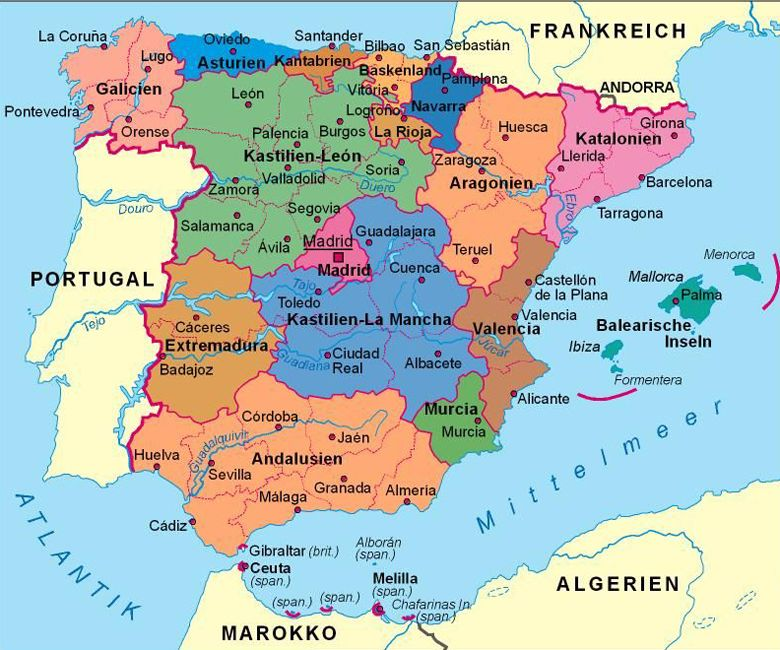 Spanien Karte Autonome Regionen Google Search Spanien