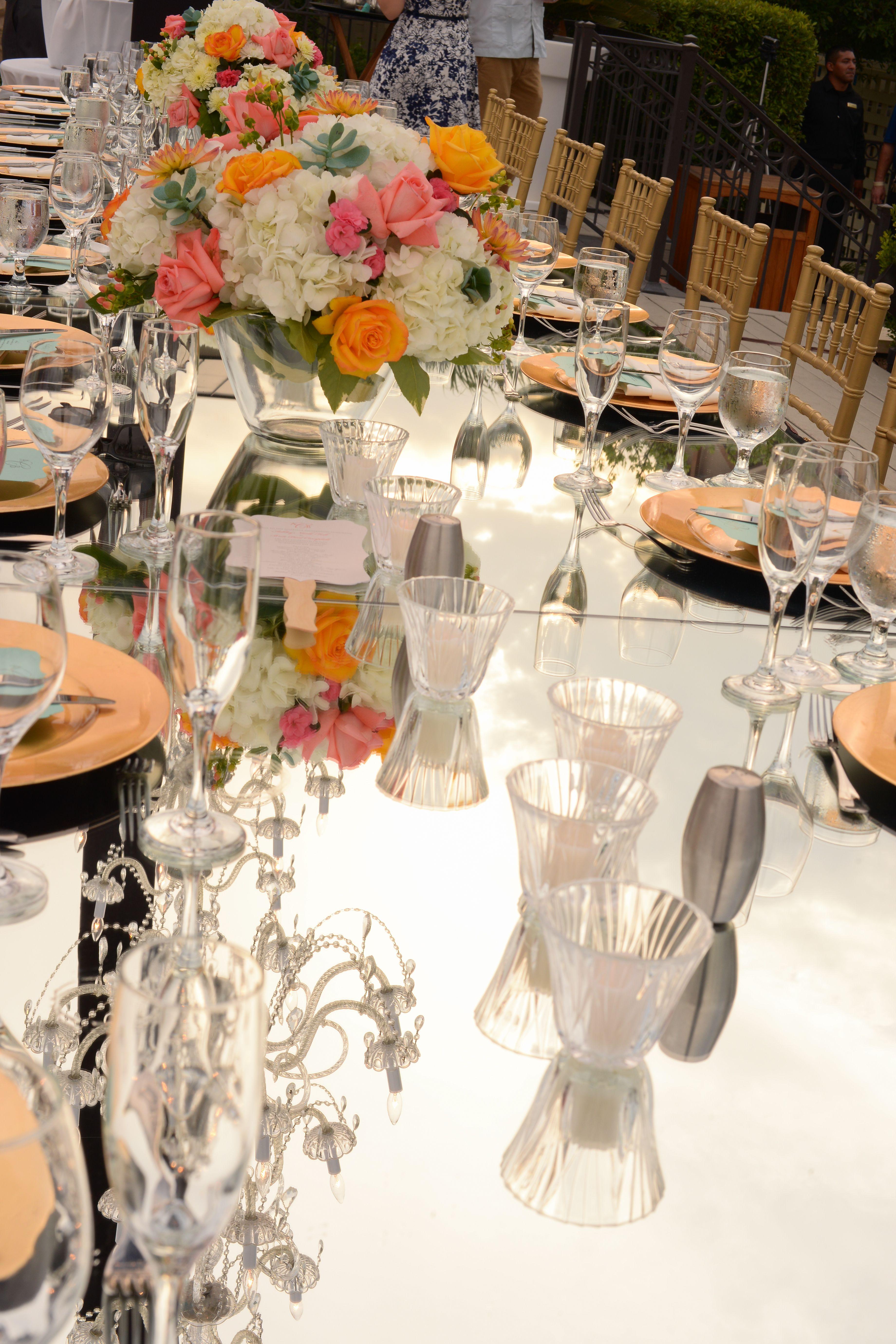 Mirrored Glass Table Top Decor DPC Event Services