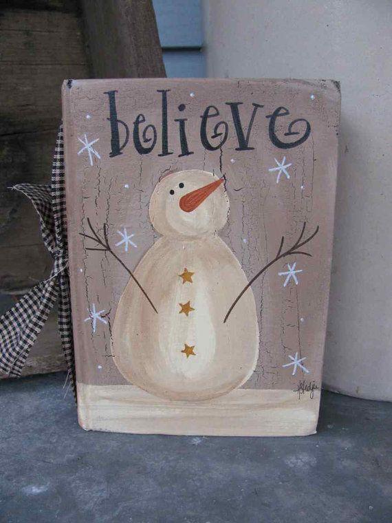 Primitive Vintage Believe Snowman Hand Painted Vintage Book